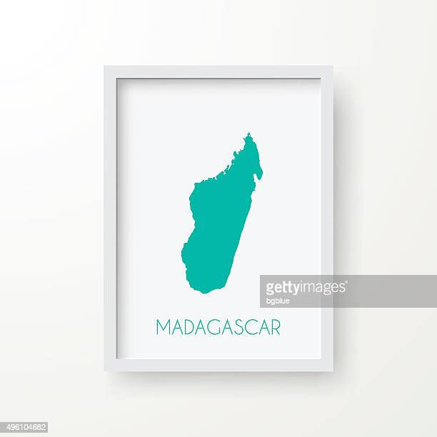 madagascar map in frame on white background - antananarivo stock illustrations, clip art, cartoons, & icons