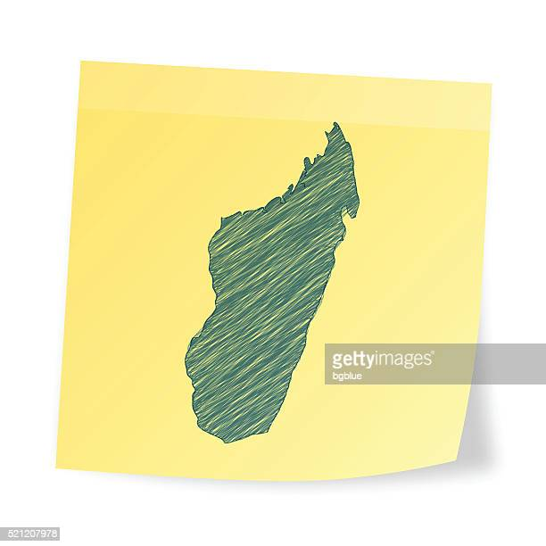 madagascar map on sticky note with scribble effect - antananarivo stock illustrations, clip art, cartoons, & icons