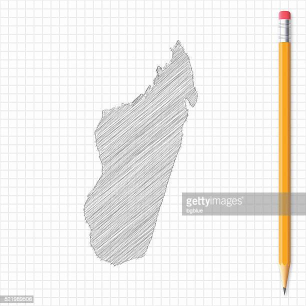 madagascar map sketch with pencil on grid paper - antananarivo stock illustrations, clip art, cartoons, & icons