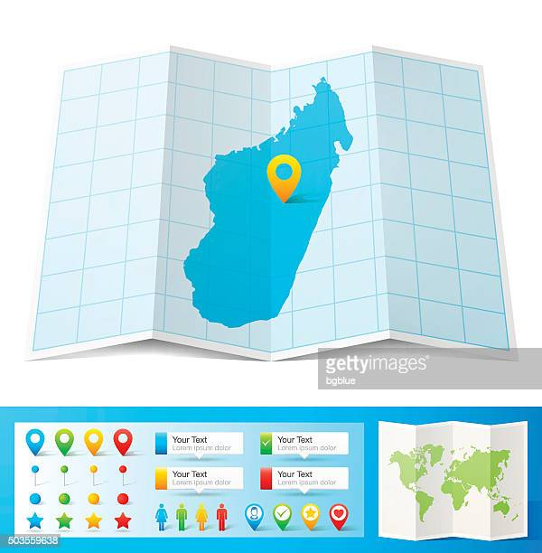 madagascar map with location pins isolated on white background - antananarivo stock illustrations, clip art, cartoons, & icons