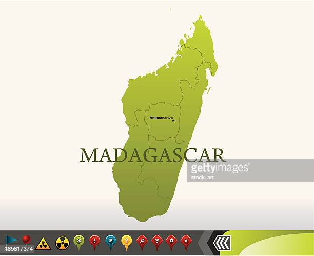 Madagascar map with navigation icons