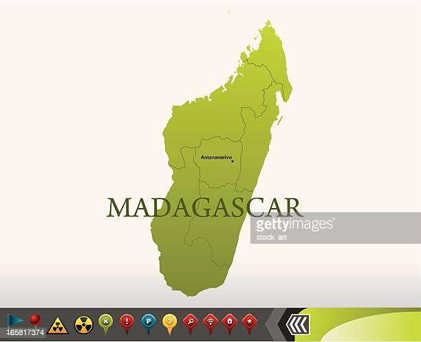 madagascar map with navigation icons - madagascar stock illustrations, clip art, cartoons, & icons
