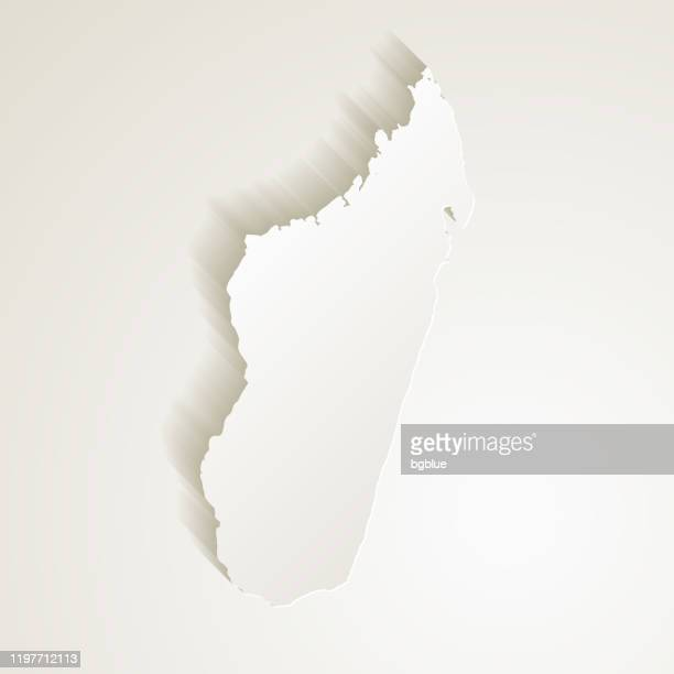 madagascar map with paper cut effect on blank background - antananarivo stock illustrations, clip art, cartoons, & icons