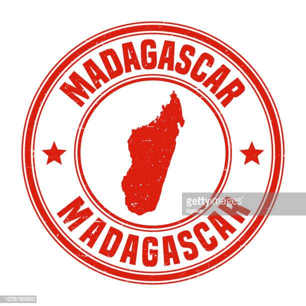 Madagascar - Red grunge rubber stamp with name and map