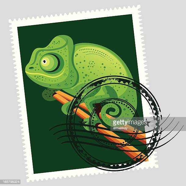 madagascar  stamps - chameleon stock illustrations, clip art, cartoons, & icons