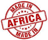 made in Africa red grunge round stamp