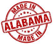made in Alabama red grunge round stamp