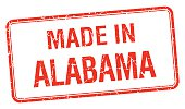 made in Alabama red square isolated stamp