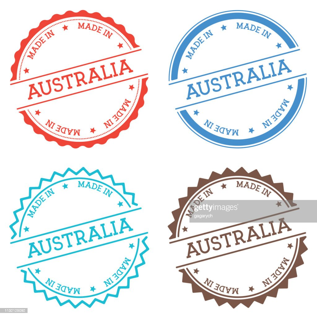 Made in Australia badge isolated on white background.