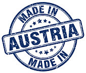 made in Austria blue grunge round stamp