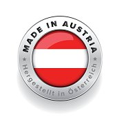 Made in Austria button with German Translation
