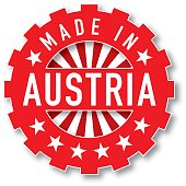 Made in Austria flag color stamp.