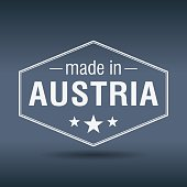 made in Austria hexagonal white vintage label