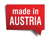 made in Austria red 3d realistic speech bubble