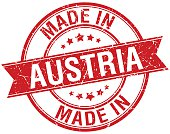 made in Austria red round vintage stamp