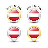 Made in Austria - Round labels with flags
