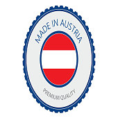 Made in Austria Seal, Austrian Flag (Vector Art)