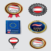 Made in Austria Seal Collection, Austrian Flag (Vector Art)