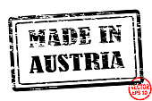 Made in Austria - template of grunged black square stamp for business isolated on white background