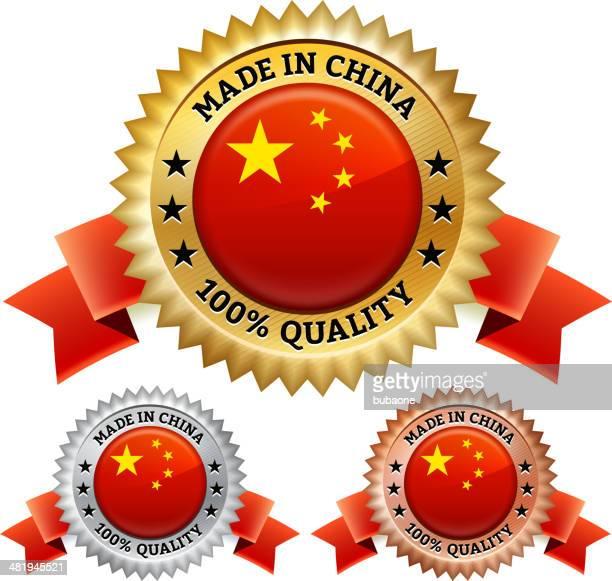 ilustrações, clipart, desenhos animados e ícones de made in china crachá ícone conjunto de vetor royalty free - great seal