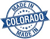 made in Colorado blue round vintage stamp
