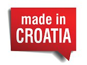 made in Croatia red 3d realistic speech bubble