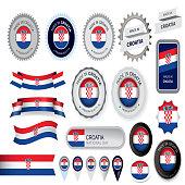 Made in Croatia Seal, Croatian Flag (Vector Art)
