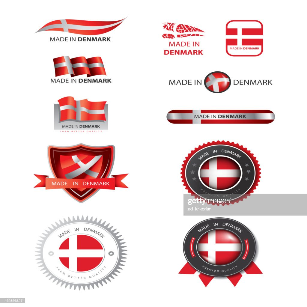 Made in Denmark seal, flags