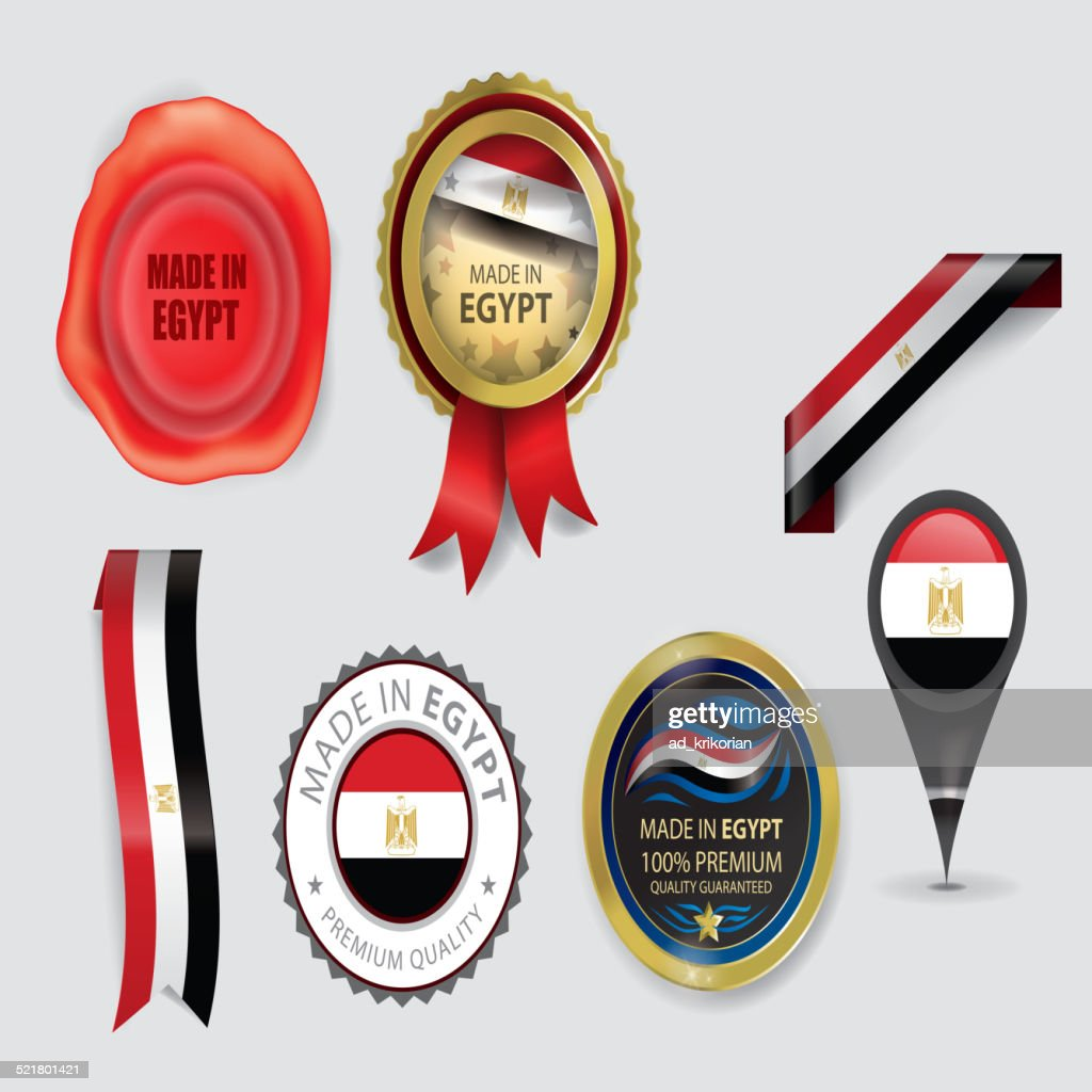 Made in Egypt seal collection, Egyptian Flag (Vector Art)