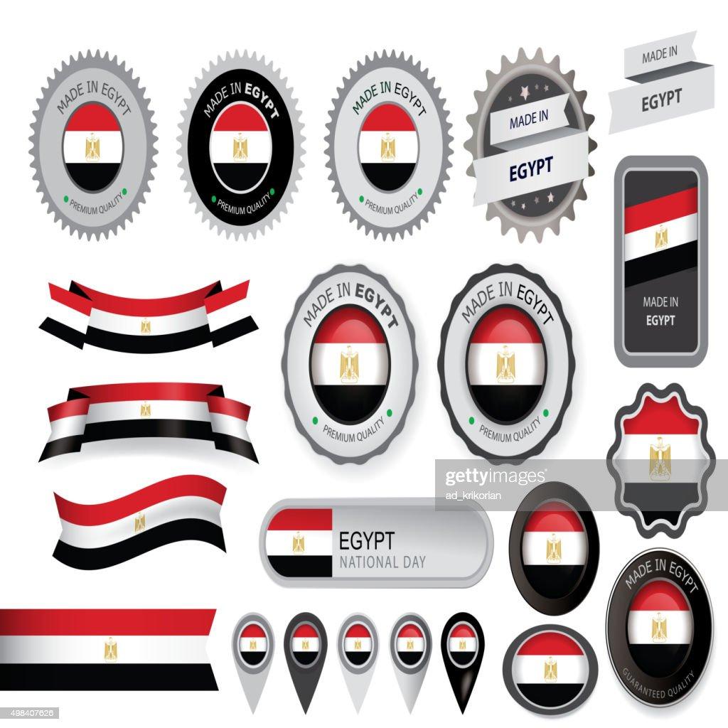 Made in Egypt Seal, Egyptian Flag (Vector Art)