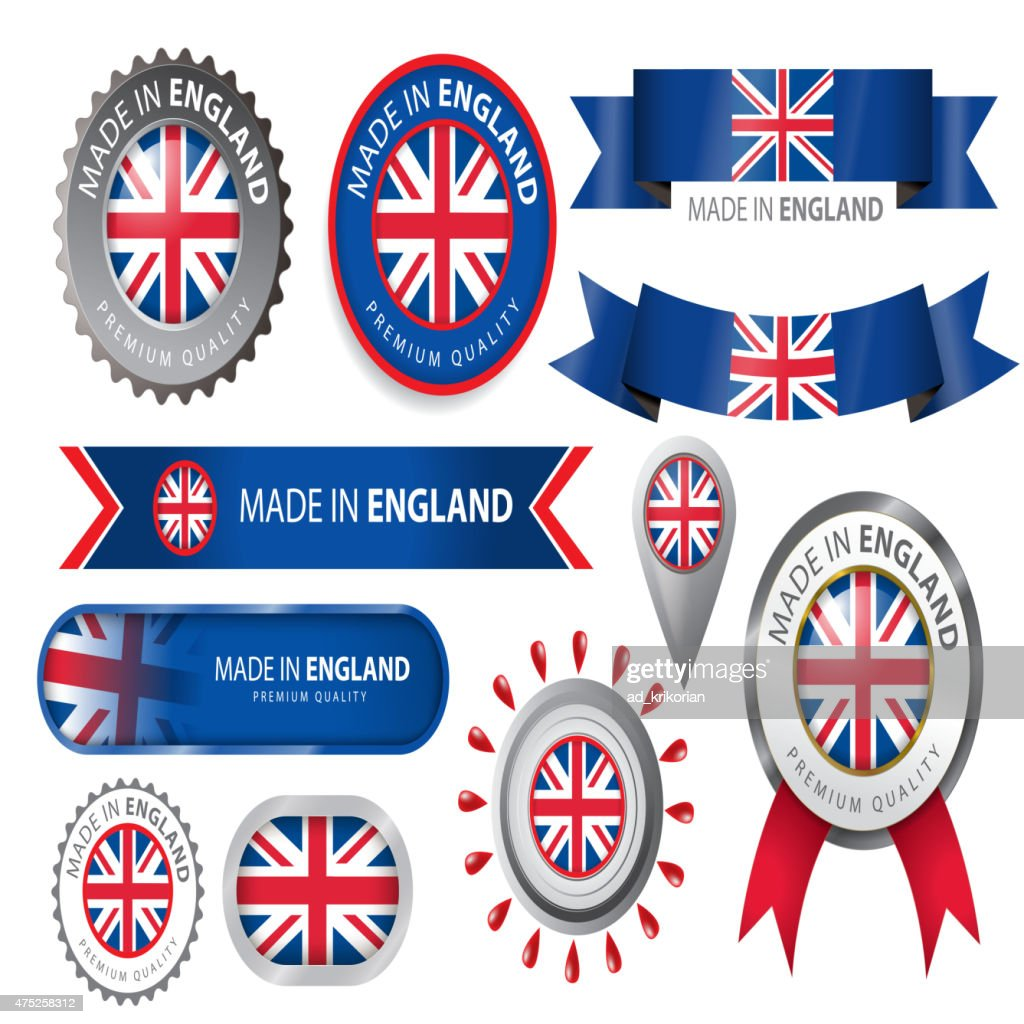 Made in England Seal, England Flag (Vector Art)