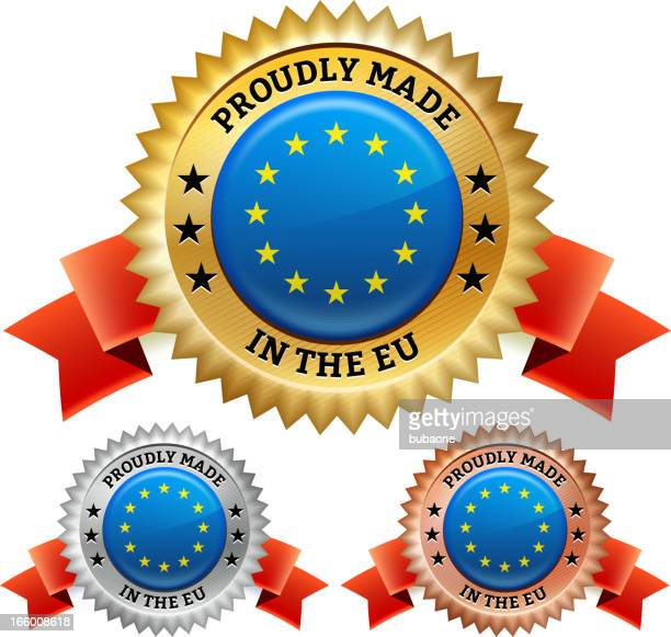 made in european union badge royalty free vector icon set - great seal stock illustrations, clip art, cartoons, & icons
