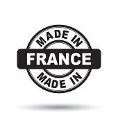 Made in France black stamp. Vector illustration on white background