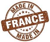 made in France brown grunge round stamp