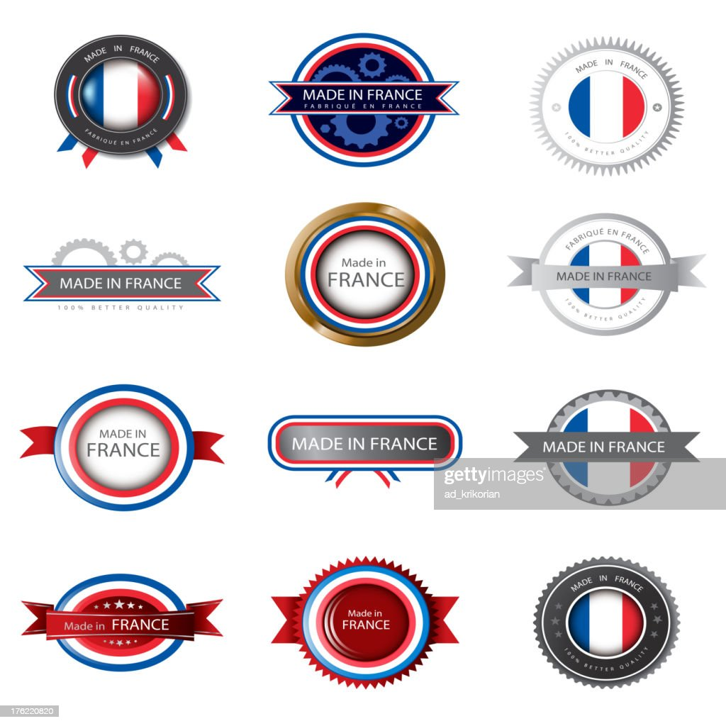 Made in France, French flag, seals