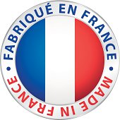 Made in France. Guaranteed flag vector label.
