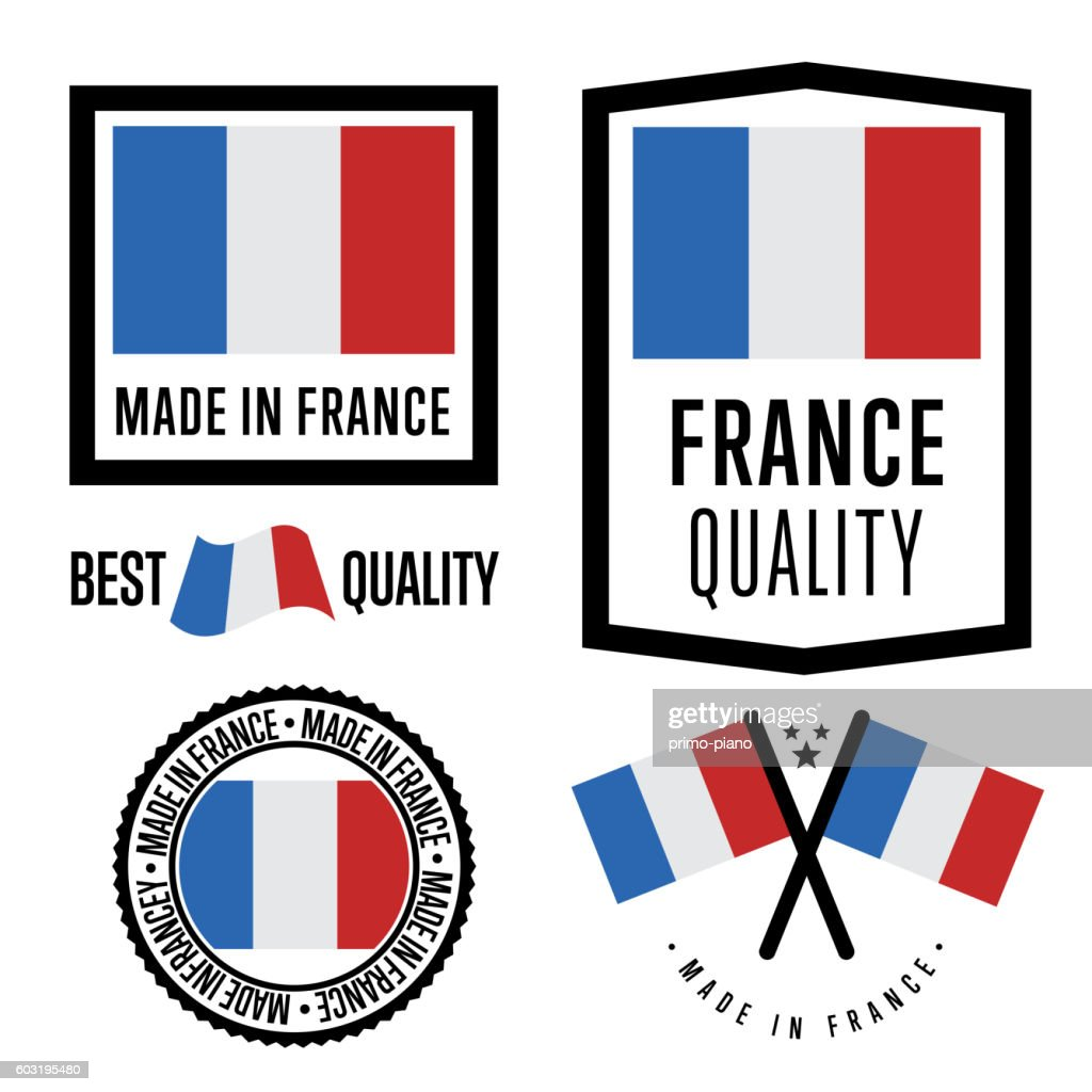 Made in France label set. Vector national flag