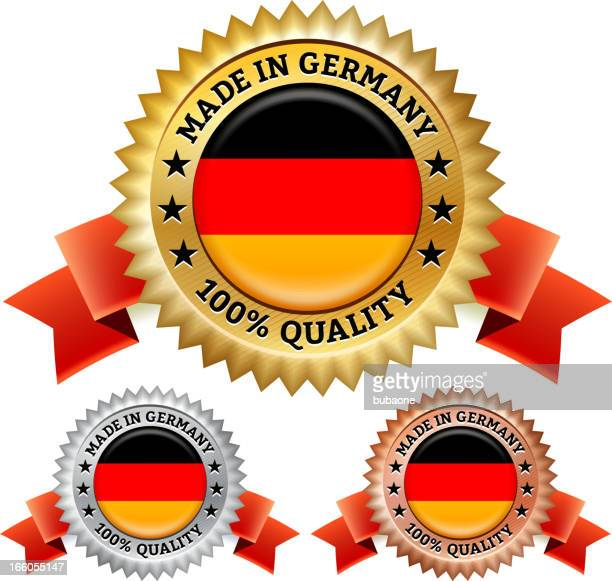 made in germany badge royalty free vector icon set - great seal stock illustrations, clip art, cartoons, & icons