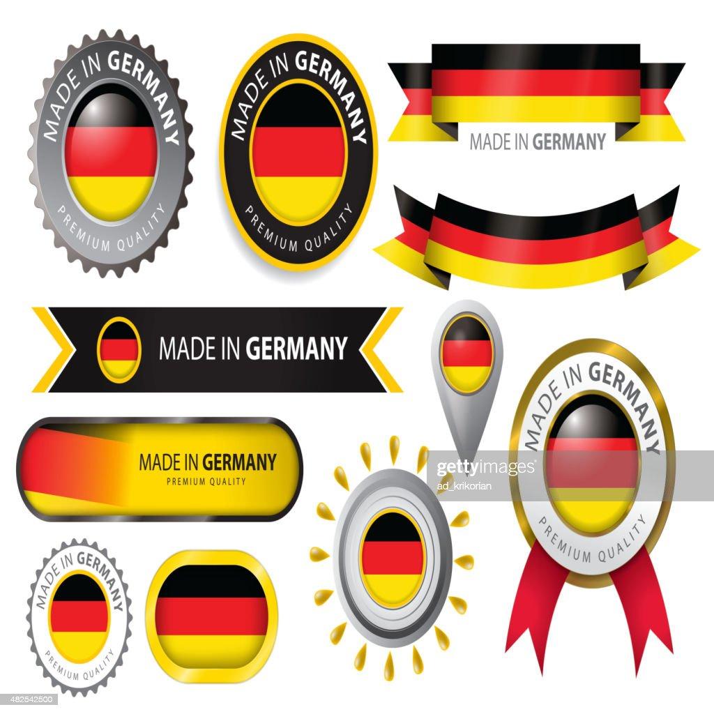 Made in Germany Seal, German Flag (Vector Art)