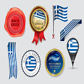 Made in Greece Seal Collection, Greek Flag (Vector Art)