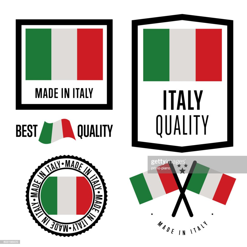 Made in Italy label set. Vector national flag