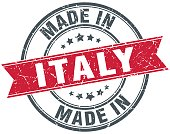 made in Italy red round vintage stamp