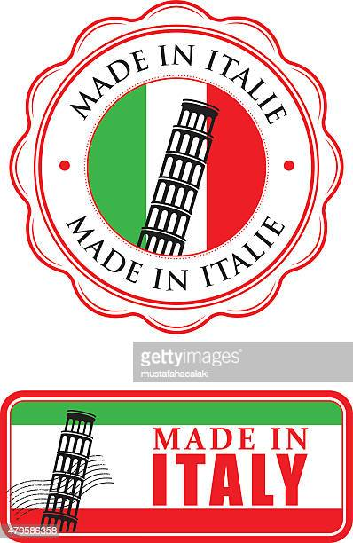 made in italy rubber stamps - leaning tower of pisa stock illustrations, clip art, cartoons, & icons