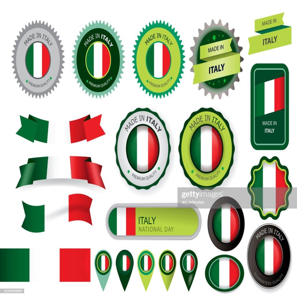 Made in Italy Seal, Italian Flag (Vector Art)