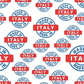Made in Italy seamless pattern background icon. Flat vector illustration. Italy sign symbol pattern.