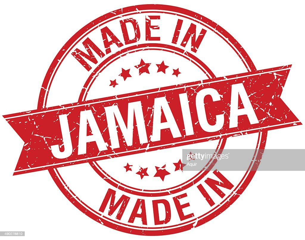 made in Jamaica red round vintage stamp