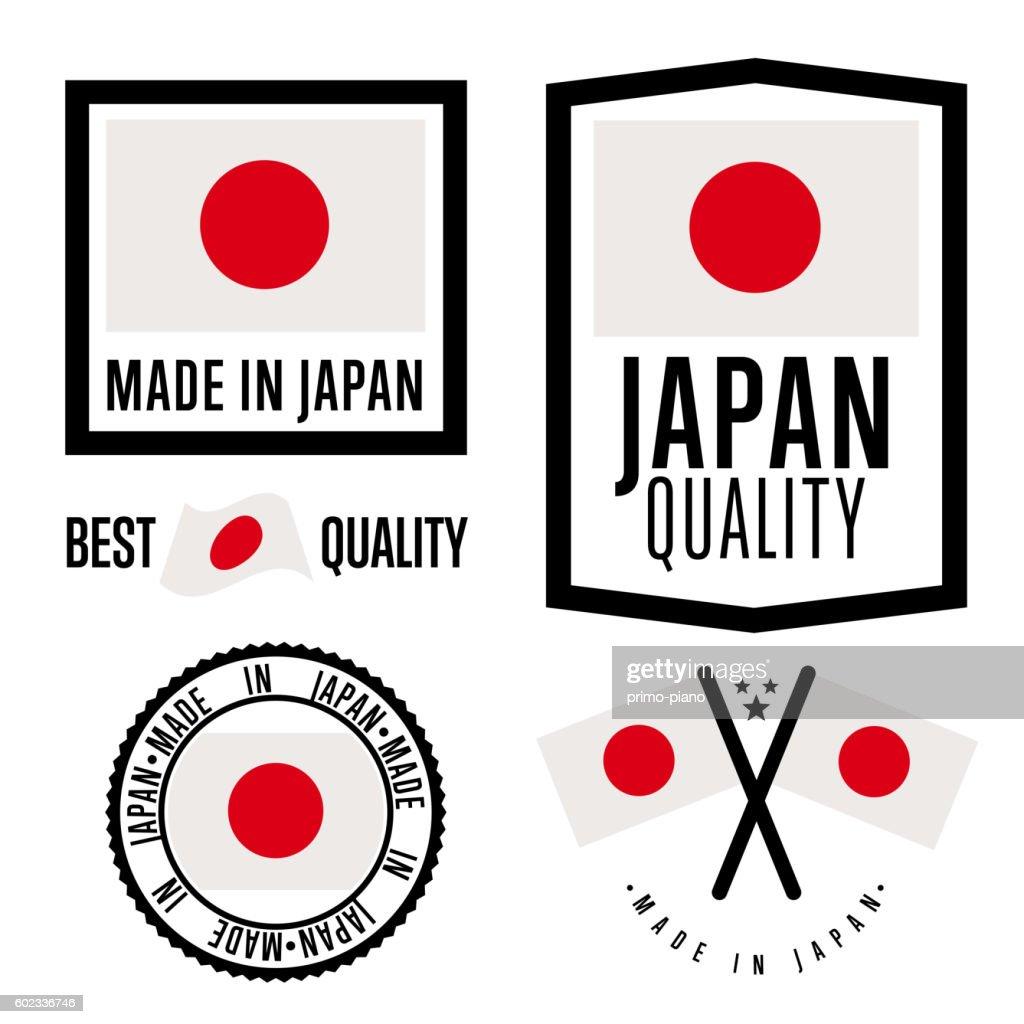 Made in Japan label set. Vector national flag