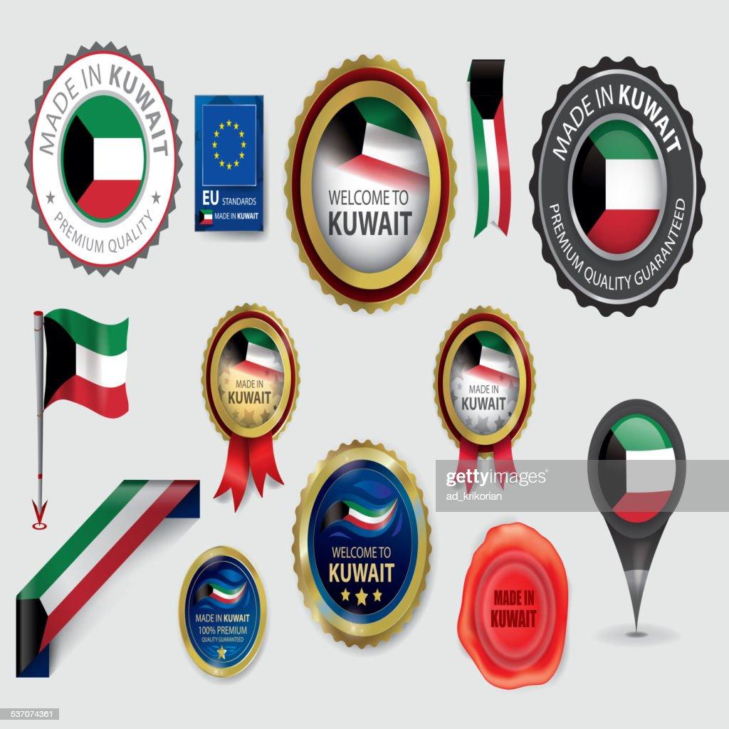 Made in Kuwait Seal Collection, Kuwaiti Flag (Vector Art)