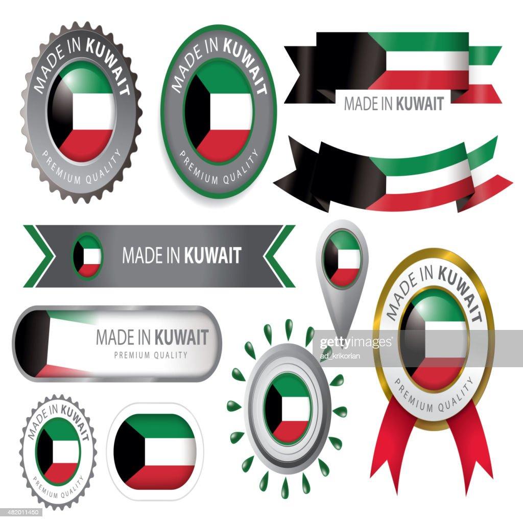Made in Kuwait Seal, Kuwaiti Flag (Vector Art)