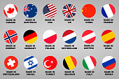 Made in. Lable 18 countries set with flags